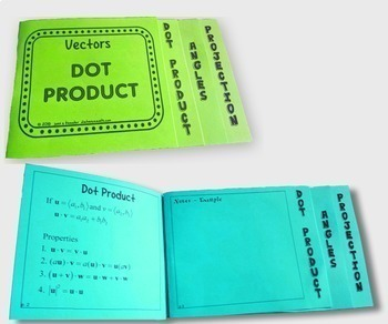 Trig Vectors Dot Product Task Cards plus Foldable and HW