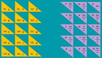 Trigonometric Angles DIGITAL Matching Activity