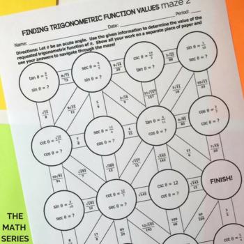 Trigonometric Function Values (Trigonometric Ratios) of Acute Angles - Mazes