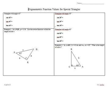 Trigonometric Function Values for Special Triangles