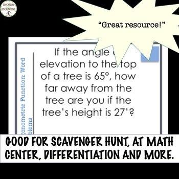 Trigonometric Function Word Problems Task Card Activity for Trigonometry