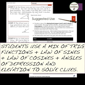 Trigonometric Functions Mixed Practice and Review Activity for Trigonometry
