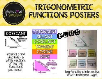 Trigonometric Functions Posters PLUS interactive math notebook activity