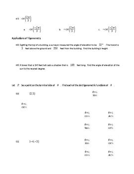 Trigonometric Functions Review WS