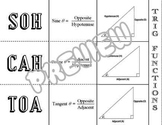 Trigonometric Functions SOHCAHTOA Sine Cosine Tangent Foldable Graphic Organizer
