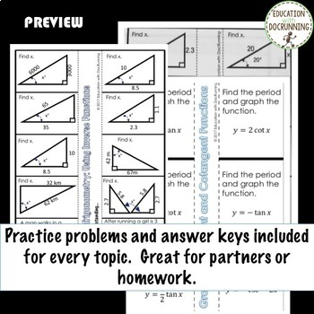 Trigonometric Functions PreCalculus Curriculum Unit 4 Notes only Bundle