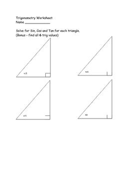 Trigonometric Functions Worksheet