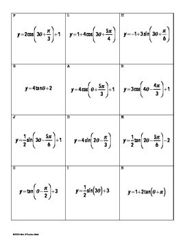 Trig Functions and Their Graphs Card Sort
