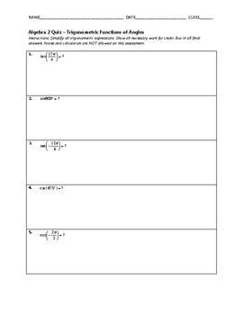 Trigonometric Functions of Angles Quiz BUNDLE