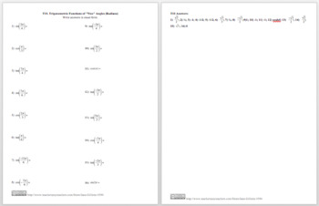 "Trigonometric Functions of ""Nice"" Angles (radian)"