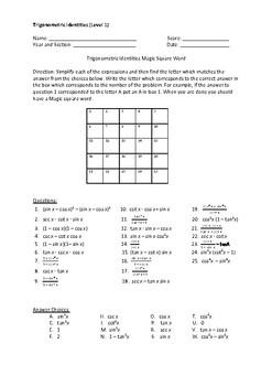 Trigonometric Identities Magic Square Activity Level 1 (Easy)