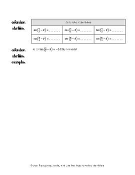 Trigonometric Identities Notes (continued)