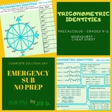 Trigonometric Identities PreCalculus Worksheet + Cheat She