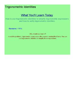 Trigonometric Identities SmartBoard Lesson