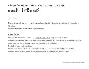 Cinco de Mayo Trigonometric Identities - a math 'FIBS' activity