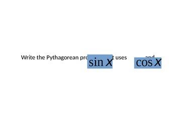 Trigonometric Identities and proofs