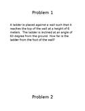 Trigonometric Ratios word problems project