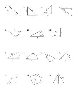 Trigonometric ratios worksheet