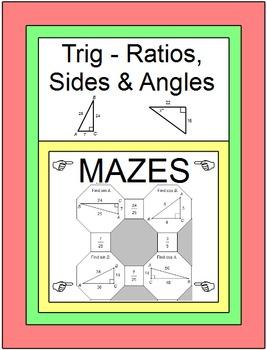 Trigonometry - 4 MAZES (SAME PRODUCT AS TRIG RATIO MAZES)