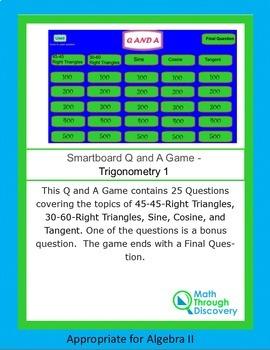 Algebra II Smartboard Q and A Game - Trigonometry 1