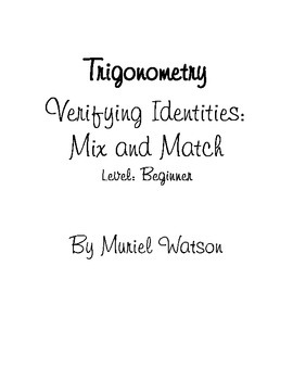 Trigonometry Activity - Verifying Identities
