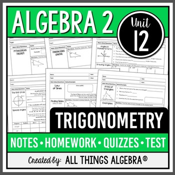 Trigonometry (Algebra 2 Curriculum - Unit 12)