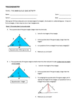 Trigonometry: Ambiguous case discovery activity