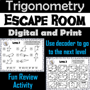 Trigonometry: Angles and Length of Right Triangles - Geometry Escape Room - Math