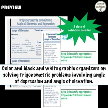 Angles of Depression and Elevation Interactive Notebook for Trigonometry