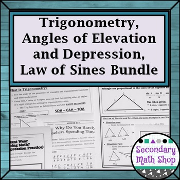 Right Triangles Trig -Angles of Elevation/Depression Law of Sines Riddles Bundle