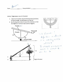 Trigonometry Application: Clinometer Activity ANSWERS