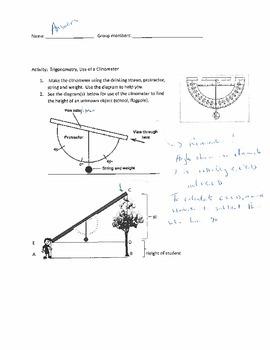 Trigonometry Application: Clinometer Activity ANSWERS by Math Matters MM