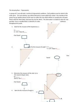 Trigonometry Applications Race, Scavenger Hunt
