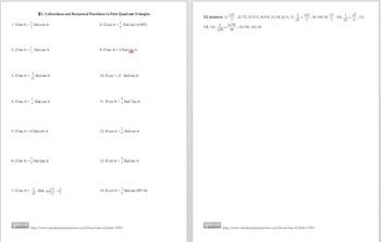 Trigonometry: Cofunctions, Reciprocal Functions,etc