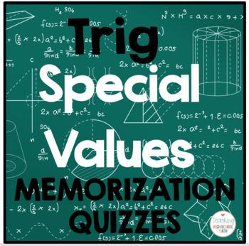 Trigonometry Convenient Values Quiz (set of 8)