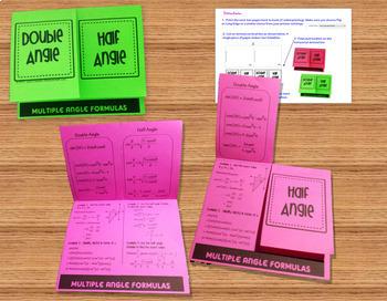 Trigonometry Double Angle Half Angle Identities Task Cards plus Foldable