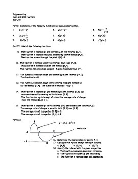 Trigonometry Even and Odd functions