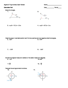 Trigonometry Exam Review