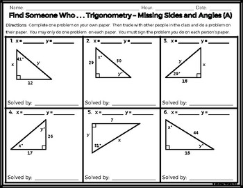 Trigonometry - Find Someone Who . . . Finding Angles and Sides (Two Levels!)