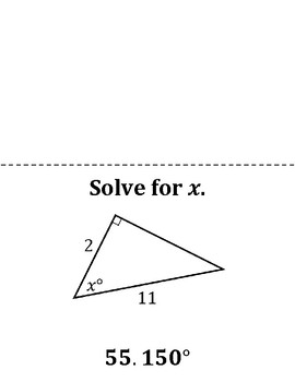 Trigonometry: Find the Missing Angle Measure Scavenger Hunt Game