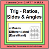 TRIGONOMETRY RATIOS, SIDES, AND ANGLES (5 MAZES) GOOGLE SLIDES OR PDF's