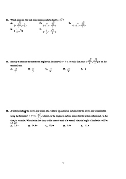 Pre-Calculus 12: Trigonometry Functions & Equations Test 1&2-with FULL SOLUTIONS