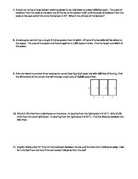 Trigonometry:  Geometry Applications Review Test