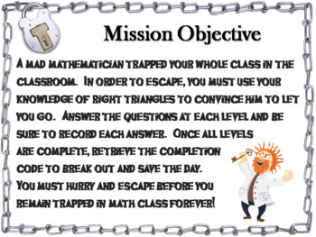 Trigonometry (Geometry) Escape Room Back to School Math Bundle