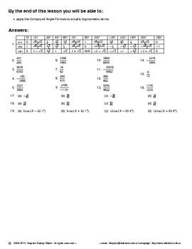 Trigonometry II – Compound Angles