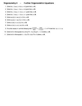 Trigonometry II – Further Trigonometric Equations