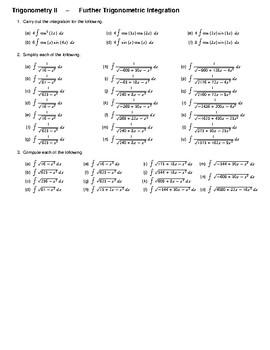 Trigonometry II – Further Trigonometric Integration