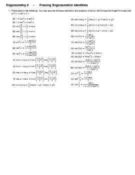 Trigonometry II – Proving Trigonometric Identities
