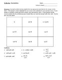 Trigonometric Identities Tic Tac Toe