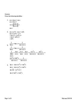 Trigonometry Identities - MA.912.T.3.2